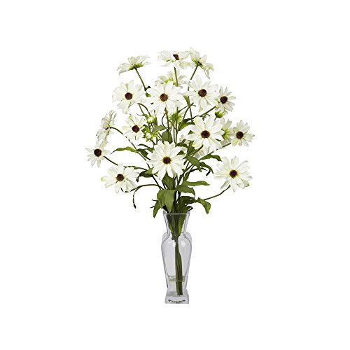 Nearly Natural Cosmos with Vase Silk Flower Arrangement White