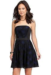 Bebe Black Contrast Floral Fit Flare Dress