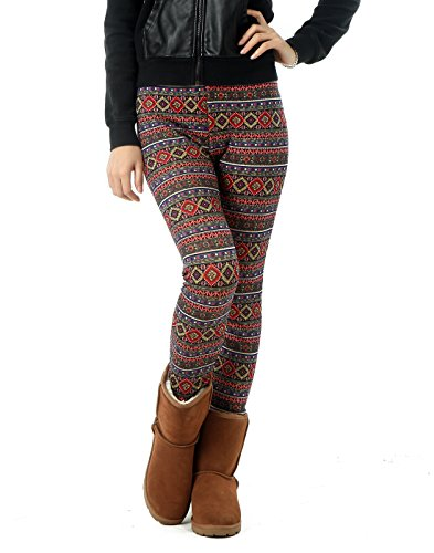 d7e7f022ee97d HDE Women's Funky Nordic Pattern Fleece Lined Winter Leggings (Olmec  Holiday, Medium)