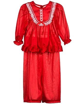 Laura Dare Baby Toddler Red Long Sleeve Nylon Traditional Pajama Set