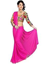 Mahalaxmi Dresses Women's Silk Nazneen Saree With Unstitched Blouse Piece (M580.Pink_Pink)