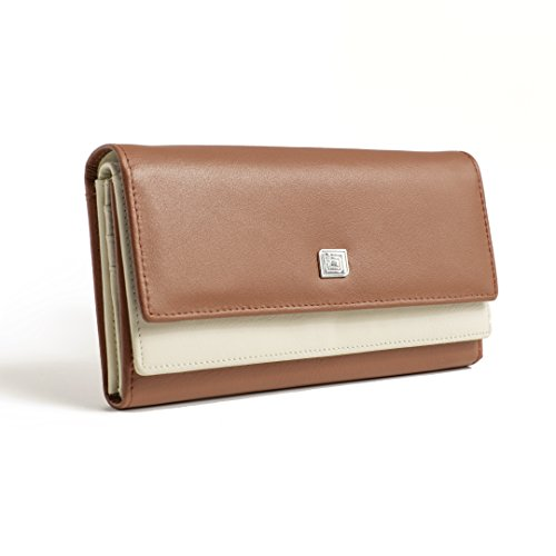 RFID Wallet Two Tone Dual Compartment Clutch (Cognac/Ivory) (Change Debit Card Number compare prices)