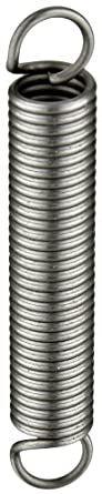 "Music Wire Extension Spring, Steel, Inch, 0.36"" OD, 0.049"" Wire Size (Pack of 10)"