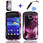 4 items Combo: Mini Stylus Pen + LCD Screen Protector Film + Case Opener + Purple White Hibiscus Feather Flower Design Snap on Hard Shell Cover Faceplate Skin Phone Case for Straight Talk Samsung Galaxy Proclaim 720C SCH-S720C / Verizon Samsung Illusion i110