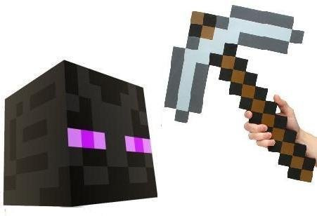 Official Minecraft Enderman Head with Foam Pickaxe Costume Set