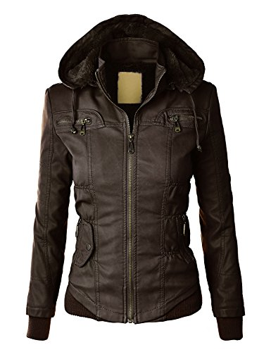 LL Womens Faux Leather Zip Up Bomber Jacket with Hood M COFFEE