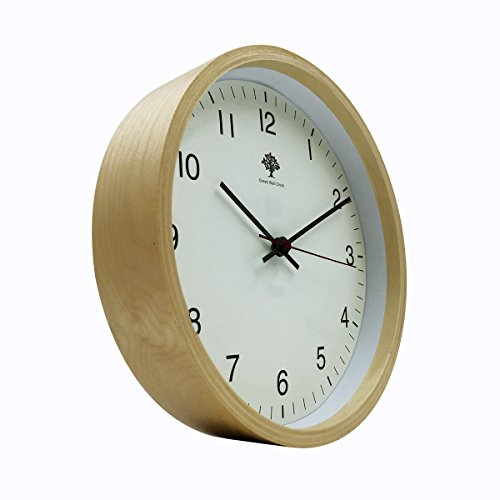 Hippih Silent Wall Clock Wood 8-inches Non Ticking Digital Quiet Sweep Decorative Vintage Wooden Clocks(white) 3