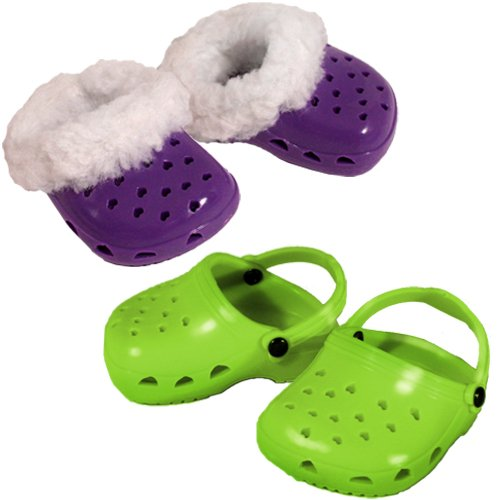 2 Pair of Fun Polliwog Doll Sandals: Purple with Fur Trim and Lime Green, Doll Shoes for 18 Inch Dolls, Fits American Girl Dolls - 1