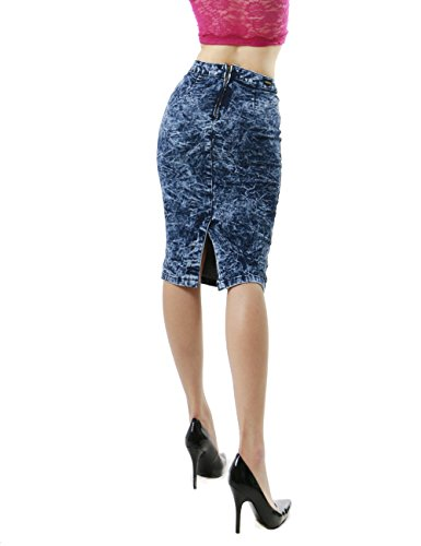 Women's Casual Distressed Vintage Denim Knee Length Skirts Collection SMALL DARK BLUE-HJ53581