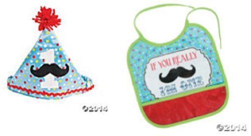 1St Birthday Mustache Bib & Hat (2 Piece Set) Party Supplies/Birthday/Baby front-1014071
