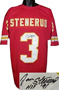 Jan Stenerud Autographed Hand Signed Kansas City Chiefs Red TB Prostyle Jersey HOF... by Hall of Fame Memorabilia