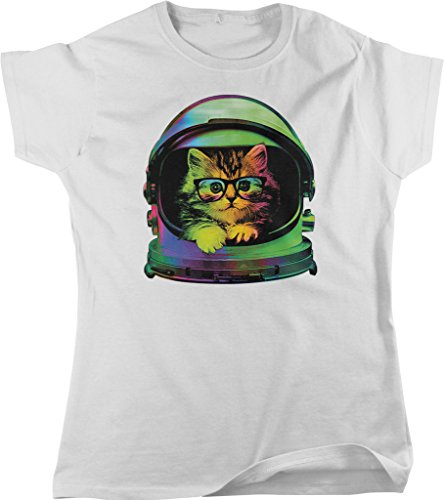 Space Kitten, Rainbow Astronaut Helmet, Galaxy Women's T-shirt, NOFO Clothing Co. L White