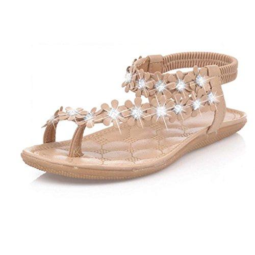 Fortan Le donne Boemia Estate perline fiore flip-flop piana dei sandali (EU=35, Cachi)