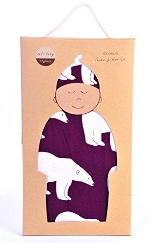 Zebi Baby Newborn Gown & Hat Set Plum Polar Bear