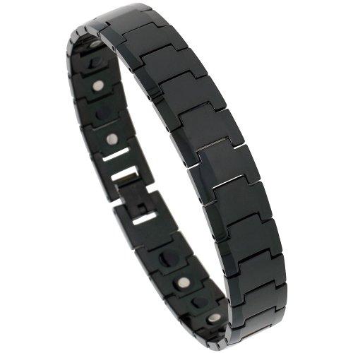 Sabrina Silver Tungsten Black Magnetic Bracelet, 1/2 in. (12mm) wide (BTN123)