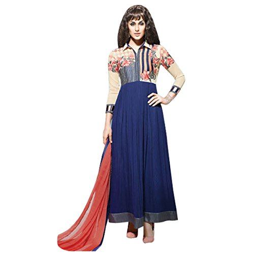 Georgette Designer Party Wear Anarkali Suit In Blue