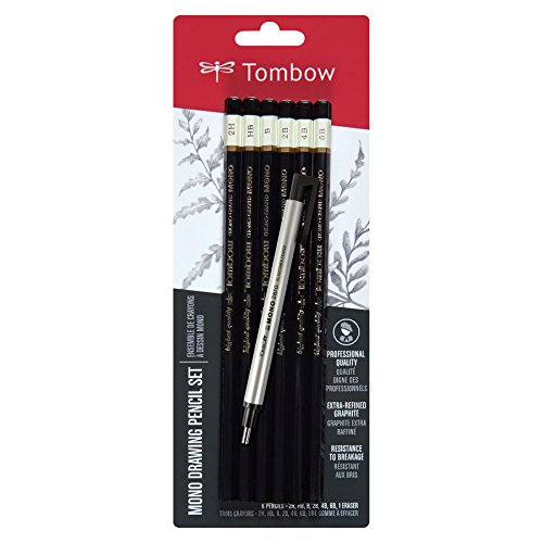 Tombow MONO Drawing Pencil, Combo Pack with Zero Eraser, Graphite 6-Pack
