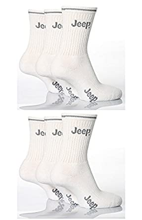 6 Pairs Boys Designer JEEP White Sport Socks UK size 6 - 8 (approx. 2 - 3 years) JP01