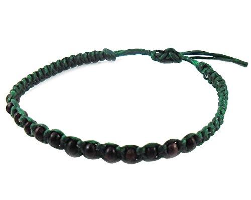 thai-buddha-fashion-art-handmade-bracelet-green-wax-string-black-wood-beads-wristband-thailand
