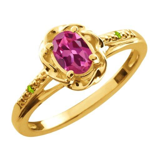 0.51 Ct Oval Pink Tourmaline Green Peridot 18K Yellow Gold Ring
