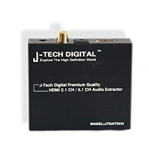 J-Tech Digital (Registered US Trademark) Premium Quality HDMI to HDMI + Audio (SPDIF + 3.5mm Stereo) Audio Extractor Converter