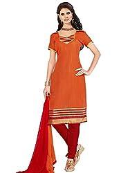 Swapnrang Banarasi Orange Red,Orange Dress Material
