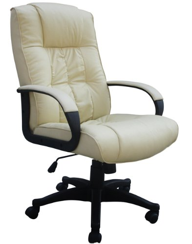 Padded Cream Leather Office Chair For Home Or Office - Executive Computer Pc Seat