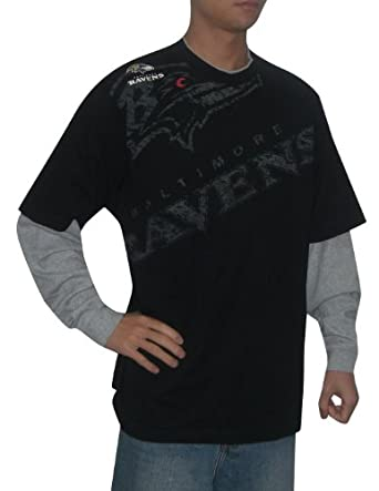 NFL Baltimore Ravens Mens Layered Long Sleeve Jersey Shirt (Vintage Look) by NFL