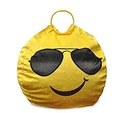 Emoji Pals Cool Shades Bean Bag with Handle, Yellow, 55\
