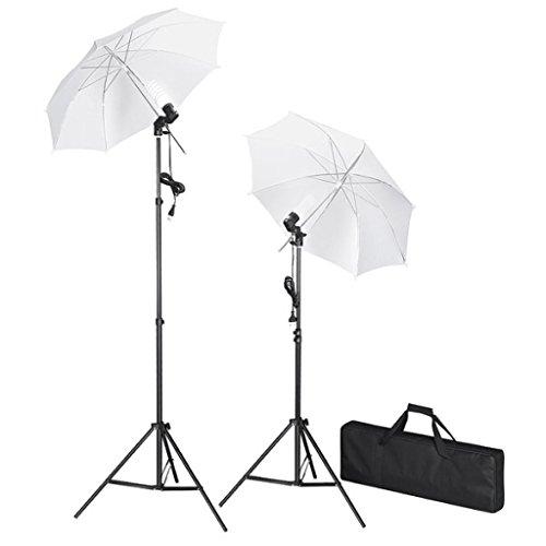 Kit de studio photo avec lampes, pieds et parapluies