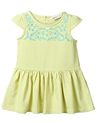 Beebay Infant-girl 100% Cotton Knitted Lime Floral Embroidery Dress (D0716131403625_Yellow_6-12 Months)