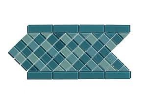Aqua Mosaic Diagonal Glass Tile Border / 12 ln ft