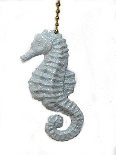 Sparkling light blue Seahorse ceiling Fan Pull chain ornament (Fan Pulls Decorative Nautical compare prices)