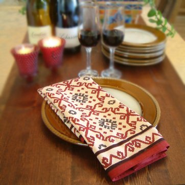 Ruby Kilim ~ Red Decorative Printed Cotton Cloth Table Napkins