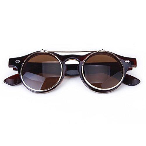 TOOGOO (R) Occhiali Stile Gotico Steampunk Vintage Occhiali da sole Cosplay (marrone scuro)