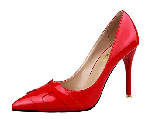 Ryse Women's Fashionable Decoration Leather Simple Classic Temperament High Heels Pointy Shoes(35 M EU/5 B(M) US, Red) (35 Swappers compare prices)