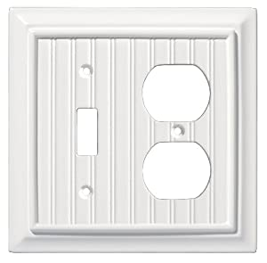Brainerd 126470 Beadboard Single Switch/Duplex Wall Plate / Switch Plate / Cover, White from BRAINERD