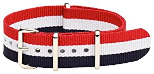 20mm Classic SS Nylon Striped Red / White / Blue - Easily Interchangeable Replacement Military Watch Band / Strap - Fits All Watches!!!