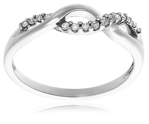 10k White Gold Diamond Infinity Twist Promise Ring