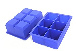 Big Ice Cube Tray - 2 Extra Large Silicone Trays - No Chemicals Left in Ice - Biggest Novelty Mold Available - Makes Giant Cube Shaped Ice Perfect for Special Drinks