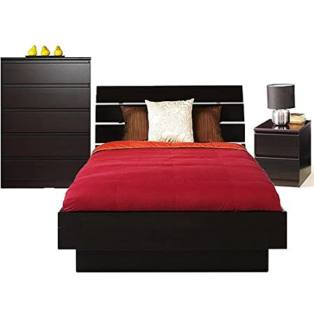 3-Pc Full Bed, Night Stand and 5-Drawer Chest Dresser Furniture Set Espresso Wood
