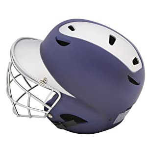 Diamond Sports Painted Matte Finish Batter's Helmet with Face Mask, Navy/Silver