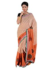 B3Fashion Beautiful Peach Colour Bagru Print Crepe Saree With Orange Border & Contrast Patti Work And Beautiful...