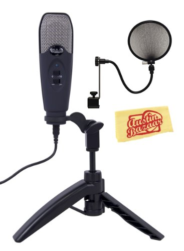 Cad U3 Limited Edition Usb Studio Recording Microphone Bundle With Pop Filter And Polishing Cloth - Midnight Blue