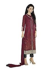 Texclusive Women's georgette straight cut pakistani work Semi Stitched Dress Material