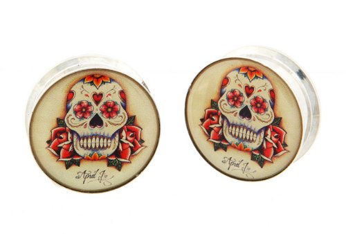 "7/8"" 22Mm 316L Stainless Steel Stash Cream Day Of The Dead Sugar Skull Dia De Los Muertos Internally Threaded Logo Ear Gauges Plugs (Sold By Pair)"