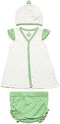 BIO KID Baby Girls' Dress (BG1I-T205-74, Green and White, 6-9 m)
