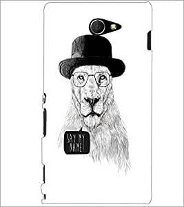PrintDhaba Lion Sketch D-1060 Back Case Cover for SONY XPERIA M2 (Multi-Coloured)