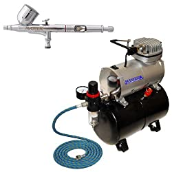 Multi-Purpose DUAL ACTION AIRBRUSH-TANK AIR COMPRESSOR