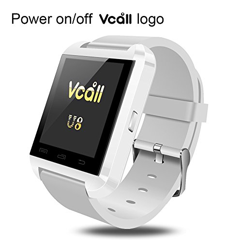 VCALL New U8 Bluetooth Smartwatch Smart Watch Wristwatch Long Battery Life Phone Mate for Samsung Huawei  Android Smart Cell Phones - White